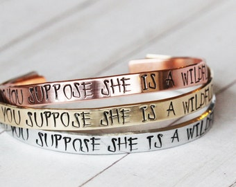 Alice in Wonderland Jewelry - Do You Suppose She is a  Wildflower Cuff inspired jewelry | Lewis Carroll Quote | Christmas Gift