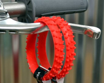 SET OF FIVE red knobby dirt bike tire wrist band