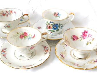 4 mismatched floral tea cups and saucers vintage teacups high tea bridal shower tea set floral teacup Mix 21