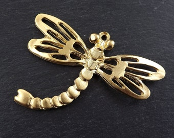 Extra Large Dragonfly Pendant - 22k Matte Gold Plated - 1PC