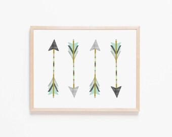 Native Arrows Nursery Art. Nursery Wall Art. Nursery Prints. Nursery Decor. Boy Wall Art. Adventure Nursery. Arrows Print. Instant Download.