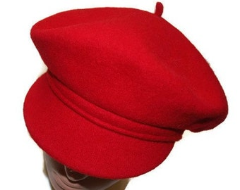 Red wool beret hat with visor Women newsboy cap Felted wool hat Ladies wool hat Felted wool beanie cabby Slouchy beret Hat