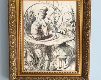 Alice in wonderland caterpillar print in antique style frame