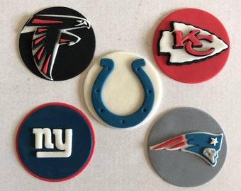 NFL Edible Fondant Cupcake Toppers