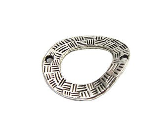 8 wavy rings, antique silver