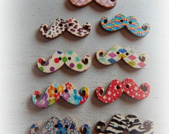 9 buttons mustache wood patterns and colorful 31 * 11 mm