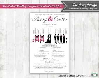 """Silhouette Wedding Program • Printable PDF • """"The Avery"""" • NEW Colored Dress Option • Custom Silhouettes •  5.5x8.5 size • Choose ANY Colors"""