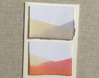 Dip dyed red and cream double landscape blank greeting card on cotton paper with deckle edge