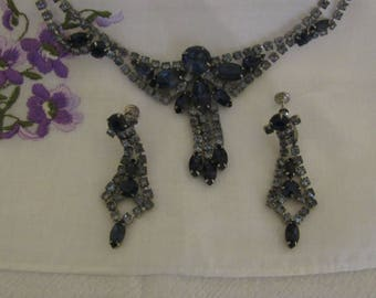 Vintage Crystal and Sapphire Choker and Earrings