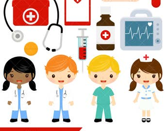 Doctor and Nurse Clipart / Cute Doctors and Nurses Clip Art / First Aid Clipart