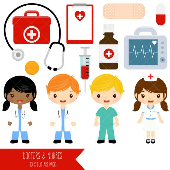 doctor and nurse clipart cute doctors and nurses clip art rh etsy com nurse clip art free download nurse clip art photos
