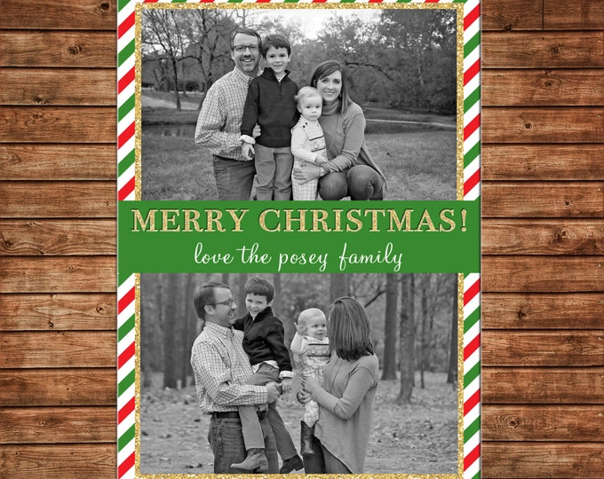 Christmas Holiday Photo Card Red Green Gold Glitter Stripe - Can Personalize - Printable File or Printed Cards