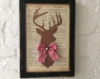 Framed Stag Silhouette on Vintage Dictionary Page on Reclaimed Wood