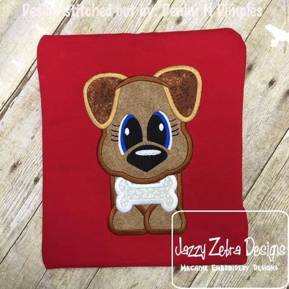 Dog 105 Appliqué Embroidery Design - dog appliqué design - puppy appliqué design