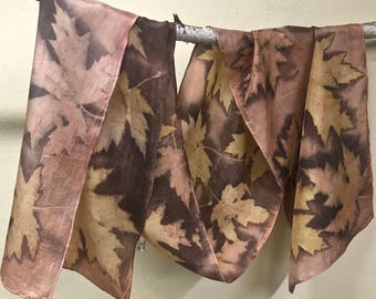 Eco Printed and Natural Dyed Silk Scarf OOAK