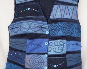 Blue waistcoat, emroidered waistcoat, bohemian waistcoat, festival waistcoat, hungarian folk waistcoat, hippie waistcoat, boho waistcoat