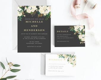 Modern Greenery Wedding Invitation Suite, Wedding Invitation Printable, Invitation Set, Invitation Rustic, Letter or A4(Item code: P1052)