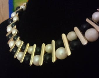 1980s Fancy beaded collar bone Necklace