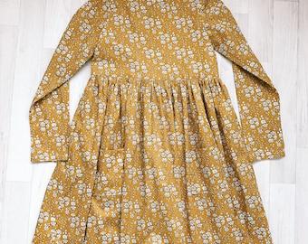 DAISY Handmade Liberty of London Print Long Sleeve Girls Dress with Pockets