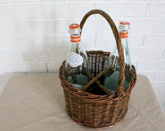 Divided Wicker Basket with Glass Bottles
