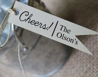 Cheers, Wedding Favor Tags, Pennant Tag, Paper Tags, Flag Tag, Personalized, Favor Tag, Wedding Favor