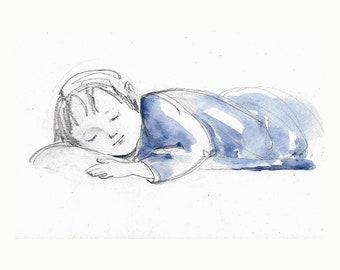 Boy Child Girl Baby sleeping original illustration drawing painting watercolor pencil figurative people
