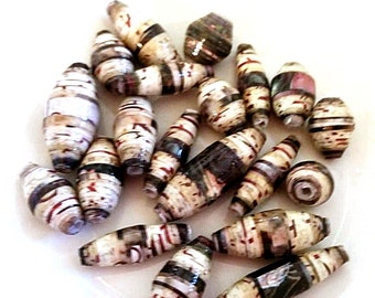 Unique Paper Beads - Handmade - Greens  &  Browns  - Set of 20 - PB107