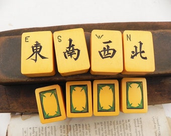 8 Vintage Mah Jongg Tiles Winds Dragon Butterscotch Joker Replacement Craft Jewelry Assemblage Supply