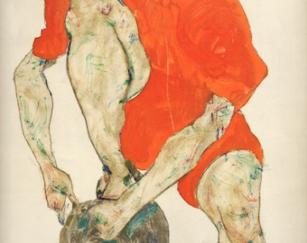 "Schiele Egon, 38, Lithograph, ""Female model in a flame colored dress"" printed 1968"
