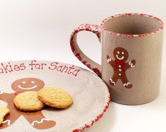 Gingerbread Boy Plate AND Mug - Personalized Cookies for Santa Plate - Gingerbread Snack Set - & Personalized Cookies and Milk for Santa Plate Mug and