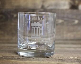 Dresden Files McAnally's Pub whiskey glass - Dresden Files whiskey glass - McAnally's pub rocks glass - Harry Dresden whiskey glass