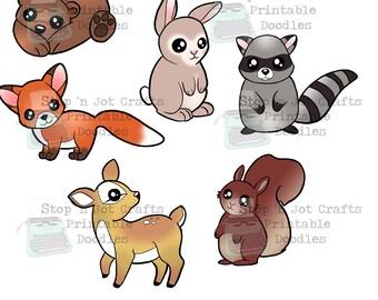 Woodland Animal Die Cut Bundle Printable