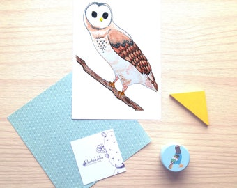 Cute natural color owl, limited print, watercolor illustration, drawing, wall decor, wish card, nursery