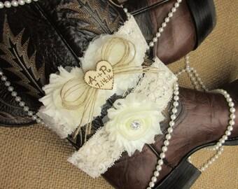 Personalized Rustic Heart Wedding Garter Set,Country Chic Garter Set,Monogrammed Wedding Garter Set