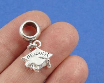 Graduation Cap European Dangle Bead Charm - Sterling Silver Graduation Charm for European Bracelet