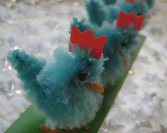 8 Vintage Chenille Easter Chicks Old Store Stock