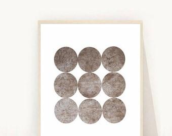 Abstract Art Print, Printable Wall Art, Circle Print, Grey Wall Art, Downloadable, Modern Wall Art, Grey Texture Print