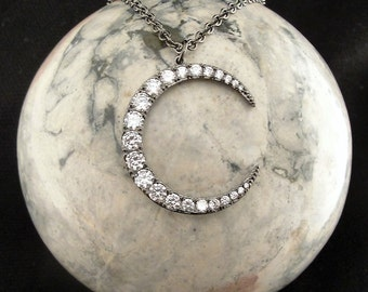 Moon Jewelry, Moon Necklace, Moon Pendant, Crescent Moon Necklace, Crescent Moon Jewelry,  Crystal Moon, Moon, Crescent Moon Pendant