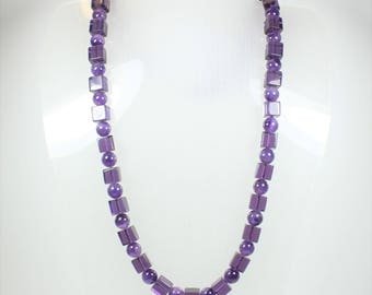 A Beautiful Amethyst Sterling Silver Beaded  Necklace