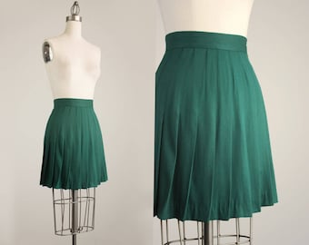 90s Vintage Express Forrest Green Pleated Mini Skirt / Size Extra Small