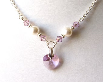 Flower Girl Necklace, Crystal Heart Necklace, Flower Girl Gifts, Sterling Silver, Childrens Jewelry, WHITE or IVORY Pearl,  Light Amethyst