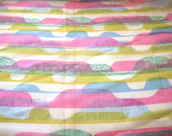 Abstract Mod Sheer Curtain Fabric by Primcot 1960s 1970s Pink Green Blue Synthetic 4 Yards