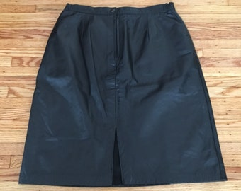 80's Size Large Leather Midi Skirt