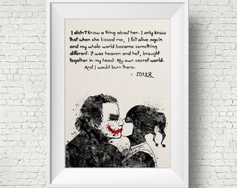 Joker and Harley Quinn Inspired Quote Watercolor Painting Print Fine Art Print Art Super Hero Wall Decor Art Home Decor Wall Hanging