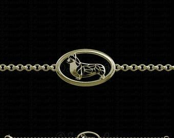 Pembroke Welsh Corgi Bracelet - solid 14k yellow gold.