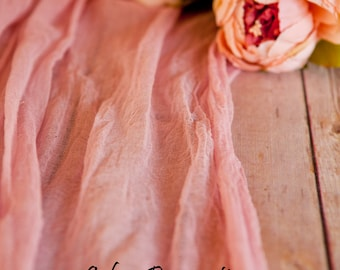 Romantic Rose Mauve Cheesecloth Table Runner Weddings Alter Arch Scarf Color Choice Hand Dyed Cotton Scrim Cheesecloth Runner Length Choice