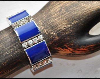 Lovely Blue and Silver ,Rhinestone stretchy Nautical Bracelet.