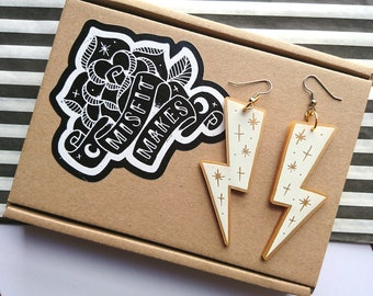 White Lightning Bolt Earrings by Misfit Makes. White Statement Earrings. Geometric Dangle Earrings. Acrylic Jewellery