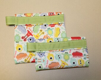 Reusable snack bag, sandwich bag, lunch bag monster