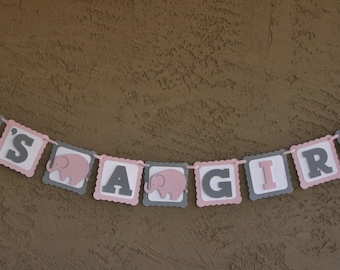 """Elephant Baby Shower Banner , It""""s A Girl,  Pink , White and Grey, New Baby, Party Banner, New Baby Celebration"""